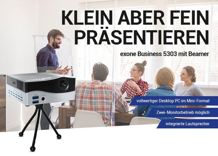 KLEIN ABER FEIN PRÄSENTIEREN - exone Business 5303 mit Beamer - vollwertiger Desktop PC im Mini-Format - Zwei-Monitorbetrieb möglich - integrierte Lautsprecher