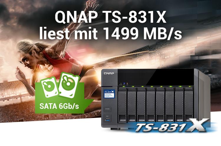 QNAP TS-831X liest mit 1499 MB/s