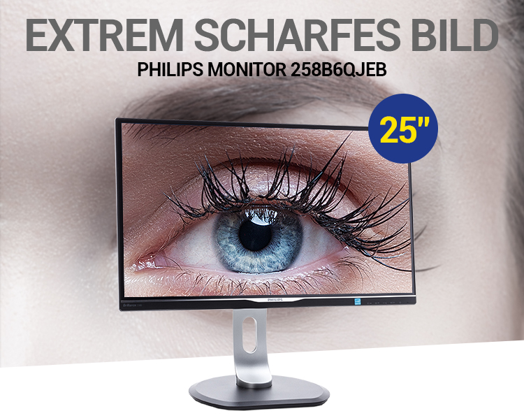 EXTREM SCHARFES BILD: Philips Monitor 258B6QJEB